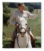 Ronald Reagan On Horseback  Fleece Blanket