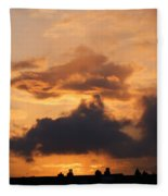 Rooftop Sunset 3 Fleece Blanket