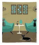 Room With Dark Aqua Chairs 2 Fleece Blanket
