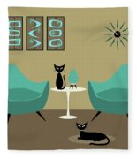 Room With Dark Aqua Chairs Fleece Blanket
