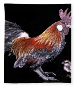 Rooster And Chicks Fleece Blanket
