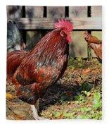 Rooster And Friend Fleece Blanket