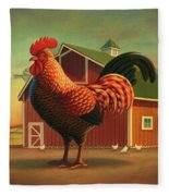 Rooster And The Barn Fleece Blanket by Robin Moline
