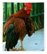 Rooster By The Fence Fleece Blanket