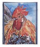 Rooster Country Painting On Blue  Fleece Blanket
