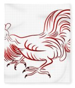 Rooster - Sign Of Chinese New Year Fleece Blanket
