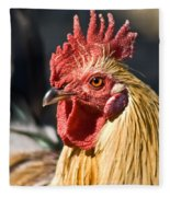 Rooster Up Close And Personal Fleece Blanket