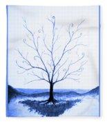 Roots Of A Tree In Blue Fleece Blanket