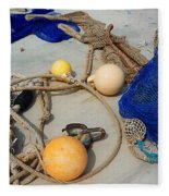 Ropes Nets And Bouys Fleece Blanket