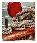 Ropes Of A Sailboat Fleece Blanket