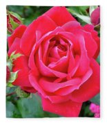 Rose And Buds - Double Knock Out Rose Fleece Blanket