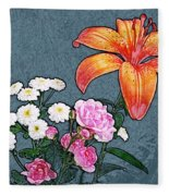 Rose Baby Breath And Lilly Fleece Blanket