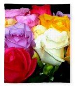 Rose Bouquet Painting Fleece Blanket