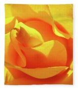 Rose Bright Orange Sunny Rose Flower Floral Baslee Troutman Fleece Blanket