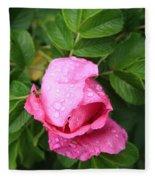 Rose Bud And Bee Fleece Blanket