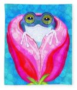 Rose City Rain Frog Fleece Blanket