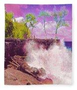 Rose Colored Splash At Mackenzie Fleece Blanket