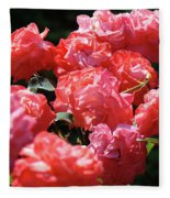 Rose Garden Art Prints Pink Red Rose Flowers Baslee Troutman Fleece Blanket