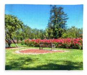 Rose Garden Benches Impressionist Digital Painting Fleece Blanket