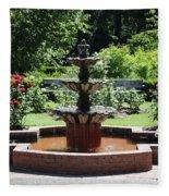 Rose Garden Fountain Fleece Blanket