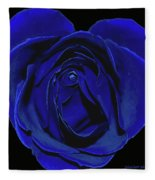 Rose Heart In Blue Velvet Fleece Blanket