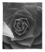 Rose In Black Fleece Blanket