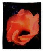 Rose Of Sharon Orange On Black Fleece Blanket