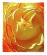Rose Orange Yellow Roses Floral Art Print Nature Baslee Troutman Fleece Blanket