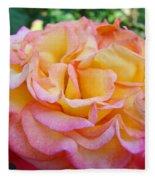 Rose Pink Yellow Rose Flower 2 Rose Garden Giclee Prints Baslee Troutman Fleece Blanket