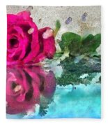Rose Reflected Fragmented In Thick Paint Fleece Blanket