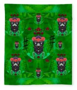 Rose Sugar Skull In Fern Garden Fleece Blanket