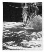 Rose Vase In Shadows Black And White Fleece Blanket