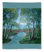 Roseanne And Dan Connor's River Bridge Fleece Blanket