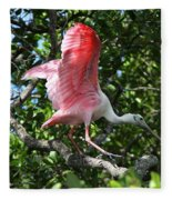 Roseate Spoonbill In Flight Fleece Blanket
