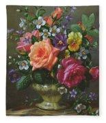 Roses And Pansies Fleece Blanket