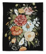 Roses And Poppies Bouquet Fleece Blanket