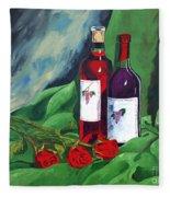 Roses And Wine Fleece Blanket