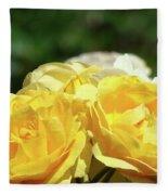 Roses Art Prints Canvas Sunlit Yellow Rose Flowers Baslee Troutman Fleece Blanket