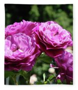 Roses Art Rose Garden Pink Purple Floral Prints Baslee Troutman Fleece Blanket