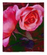 Roses Beautiful Pink Vegged Out Fleece Blanket