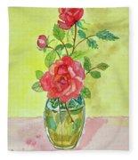 Roses For Dorothy Fleece Blanket