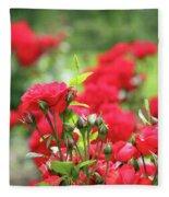 Roses Garden Spring Scene Fleece Blanket