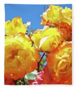 Roses Garden Summer Art Print Blue Sky Yellow Orange Fleece Blanket