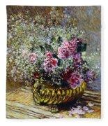 Roses In A Copper Vase Fleece Blanket