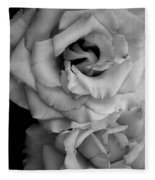 Roses In Black And White Fleece Blanket