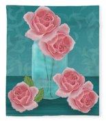 Roses In Clear Blue Jar Fleece Blanket