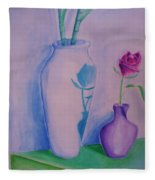 Roses  In Vase Fleece Blanket