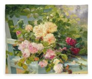 Roses On The Bench  Fleece Blanket