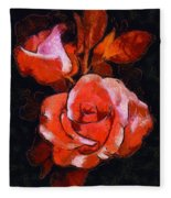 Roses Painted And Drawn Fleece Blanket