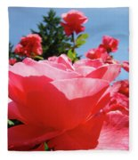 Roses Pink Rose Landscape Summer Blue Sky Art Prints Baslee Troutman Fleece Blanket